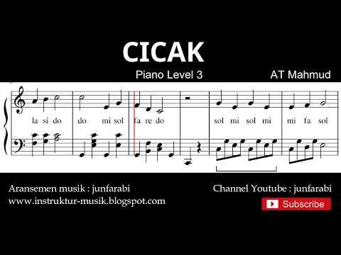 Notasi Balok Cicak - Tutorial Piano Level 3 - Not Lagu Anak Indonesia - Instrumen