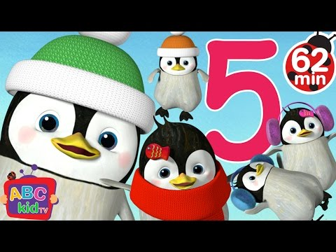 Five Little Penguins Jumping on the Bed  + More Nursery Rhymes & Kids Songs  ABCkidTV