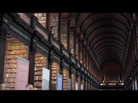 Walking guide to the ancient book of Kells and Trinity College Dublin, Ireland