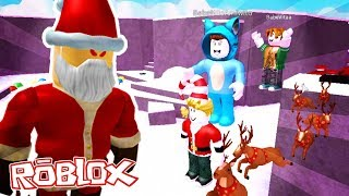 WE ESCAPE FROM SANTA MALVADO!! CHRISTMAS OBBY ROBLOX 💙💚💛 BE BE BE BE BE BE MILO VITA AND ADRI 😍 AMIWITOS