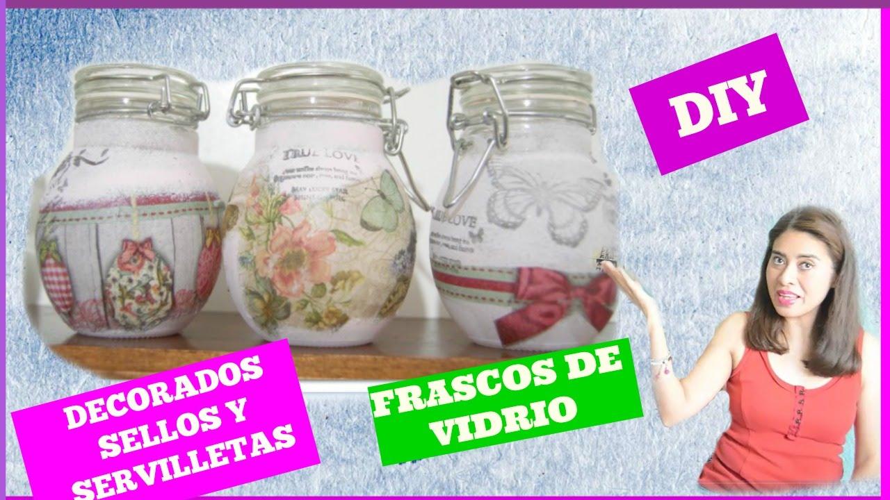 Frascos de vidrio decorados sellos y servilletas youtube - Frascos de vidrio decorados ...