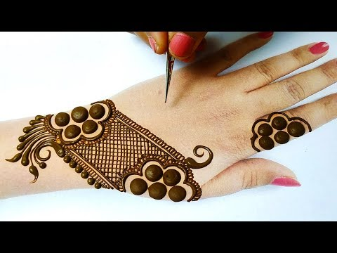 आसान मेहँदी डिज़ाइन लगाना सीखे - Easy Stylish Mehndi Design for Backhand - Holi Special Mehndi Design