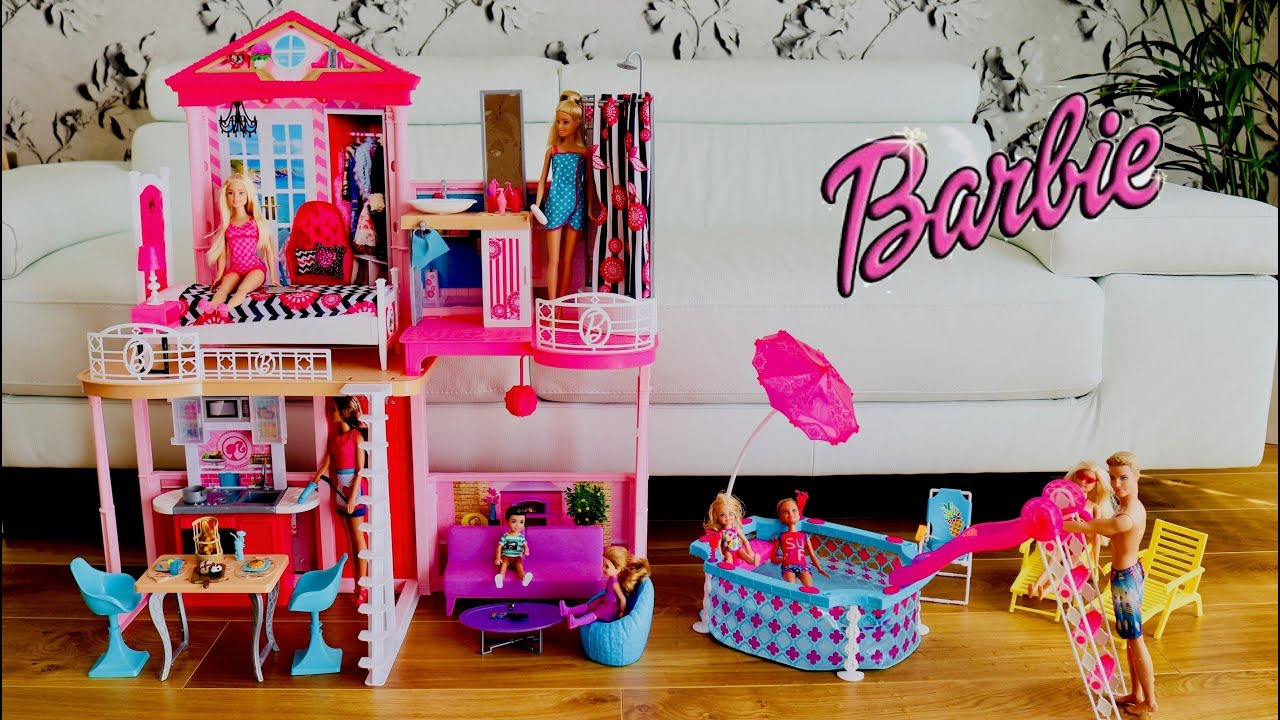 Barbie Dreamhouse With Swimming Pool Unboxing Set Up Fullhouse Tour Play