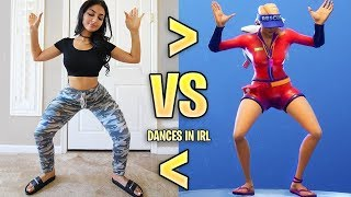Popular YouTubers Do Fortnite Dances in Real Life Challenge! (Eh Bee Family, SSSniperWolf, Ali A ..)