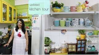 My Updated Indian Small Kitchen Tour | Countertop, Cabinet & Storage Organization Ideas | Maitreyee