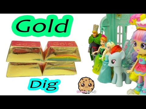 4 Surprise Dig It Digging Gold Bars In Water with My Little Pony and Disney Frozen