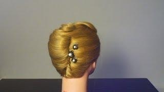 """Прическа : """" Ракушка"""". French twist hairstyle for medium hair tutorial"""