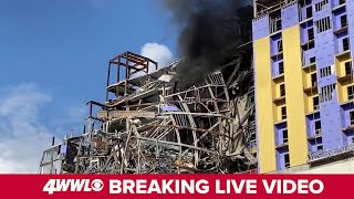 Live: Fire at Hard Rock Collapse site in New Orleans