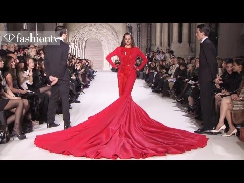 Yasmin Le Bon in 110-Pound Gown at Stephane Rolland Show - Paris Couture Spring 2012 | FashionTV FTV