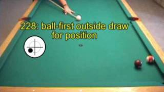 Using english (sidespin) with rail-first follow and draw shots in pool, from VEPS II (NV B.72)