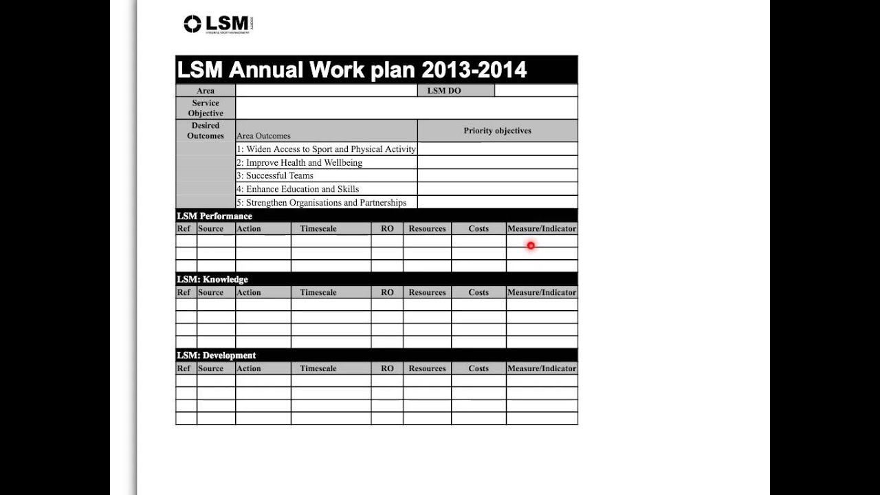 what is a work plan template - lsm workplan template youtube