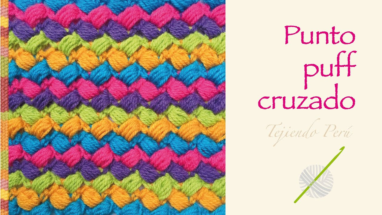 Crochet divertido paso a paso: punto puff cruzado de colores! - YouTube