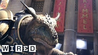 EXCLUSIVE: Watch Jimmy Kimmel take the fully formed giant creature for a ride down Hollywood Blvd.