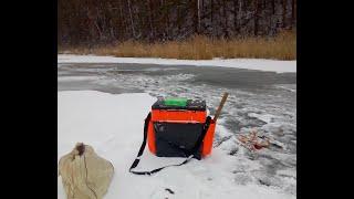 Поклёвка и удочка в хлам Первый лёд 2020 Щука окунь Рыбалка в ноябре