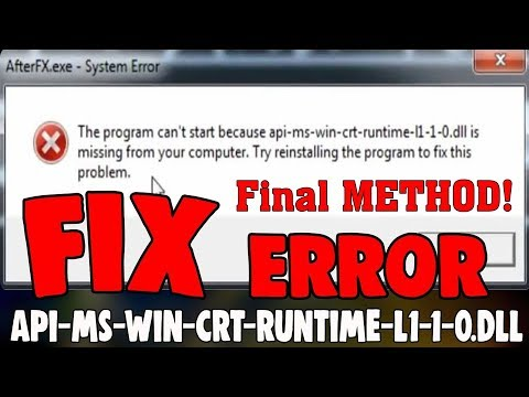 How To Fix Api-ms-win-crt-runtime-l1-1-0.dll Missing Full & Final METHOD! (2019) 100% Working
