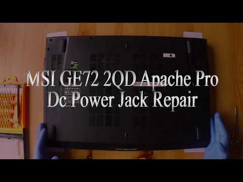 MSI Ge72 2QD Apache Pro Dc Power repair, cleaning cooler and replacing thermal paste.
