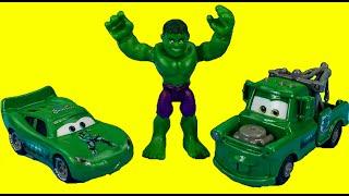 Disney Pixar Cars Hulk Mater & Hulk Car McQueen save The Incredible Hulk from Mr. Freeze thumbnail