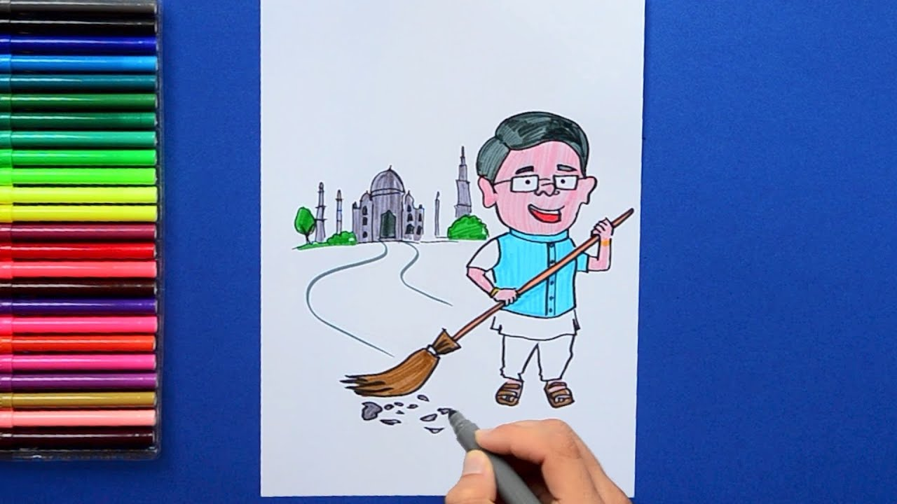 how to draw and color clean india swachh bharat youtube