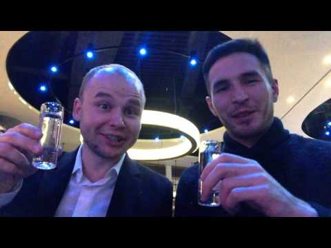 We are drinking on the Russian TV show party, this is Music Channel TV party