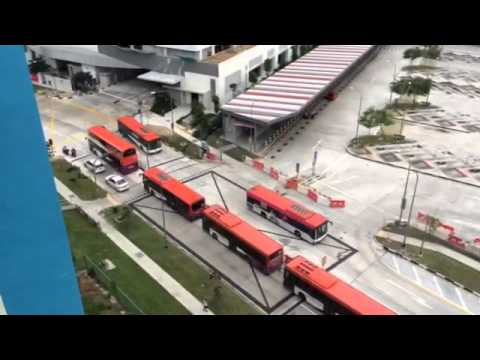 Buses waiting to enter new Bedok Integrated Transport Hub