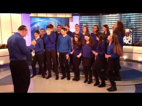 Ramaz Chamber Choir, Al HaNisim, on set at CBS Morning News
