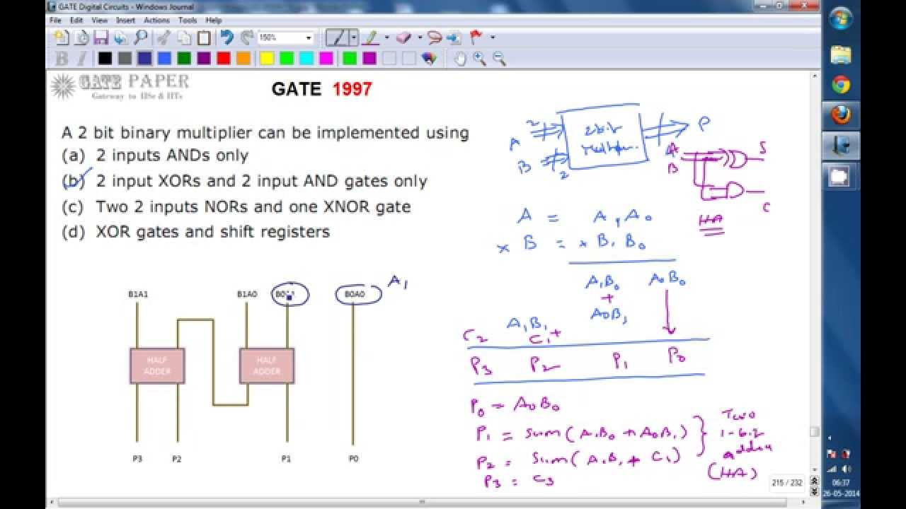 gate 1997 ece 2 bit binary multiplier can be implemented using [ 1280 x 720 Pixel ]