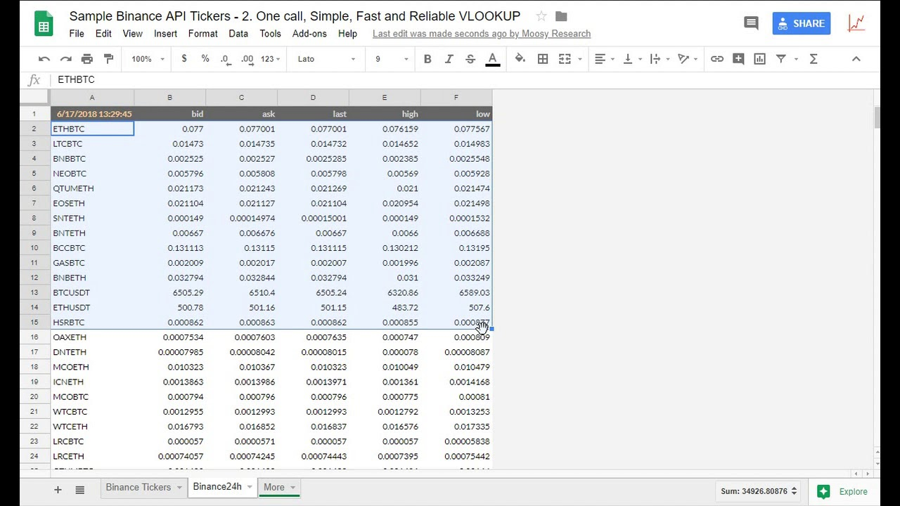 Howto code Binance API price tickers in Google Sheets / Apps Script sample  example code no ban 418