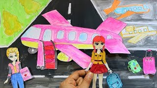PAPER DOLL AIRPORT & AIRPLANE PLAYSET WITH DISNEY QUEEN ELSA
