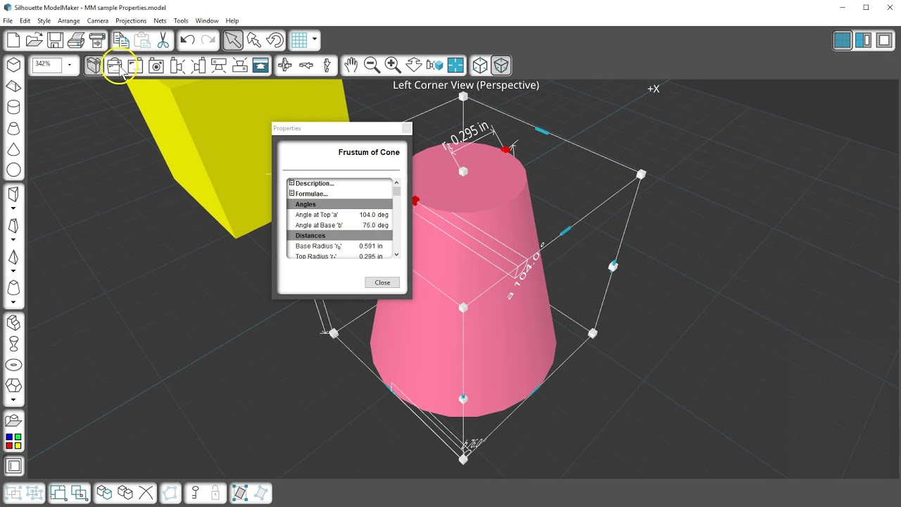 Viewing Properties of Shapes in Silhouette ModelMaker™