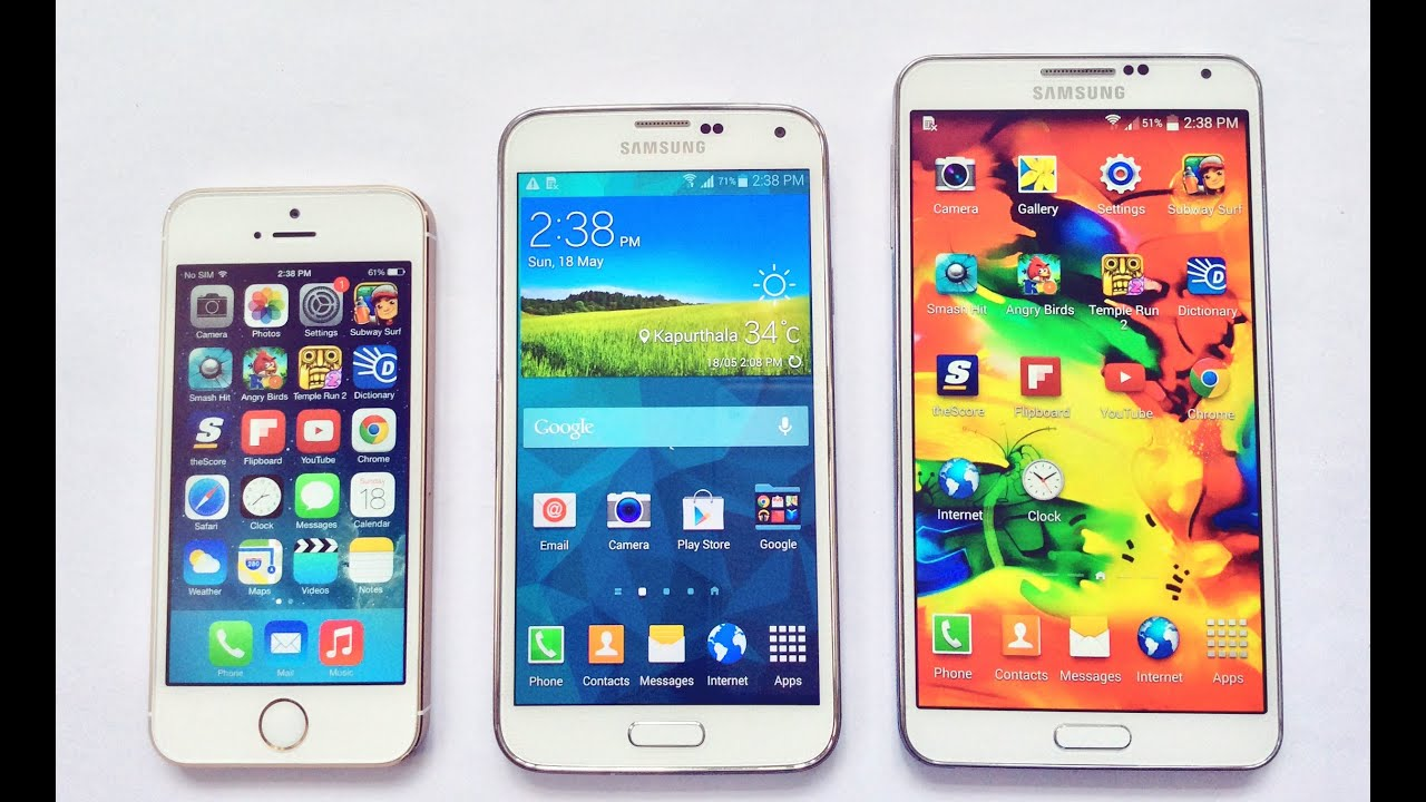 Samsung Galaxy S5 vs iPhone 5S vs Note 3 Speed Test & Full ...
