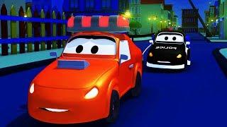 Мультфильм для детей - Авто Патруль: пожарная машина и полицейская машина в Автомобильный Город