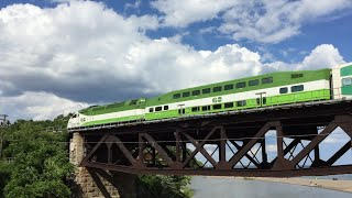 GO Transit HD 60 FPS: Pair of Lakeshore East Line Trains Crossing Rouge River Bridge 7/2/16