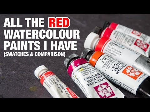 All the red watercolour paints I have (Swatches and Comparison)
