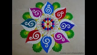 Bright and stunning rangoli for festivals | Easy rangoli designs by Poonam Borkar