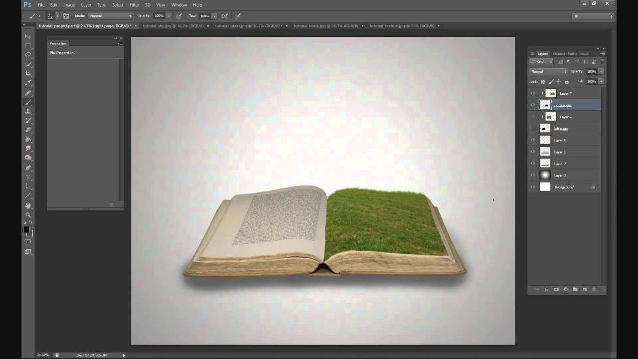 Photoshop Tutorial  Grass field on a book  YouTube