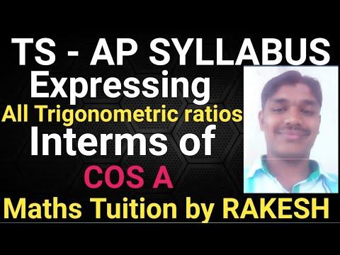 Express All Trigonometric Ratios Interms Of CosA