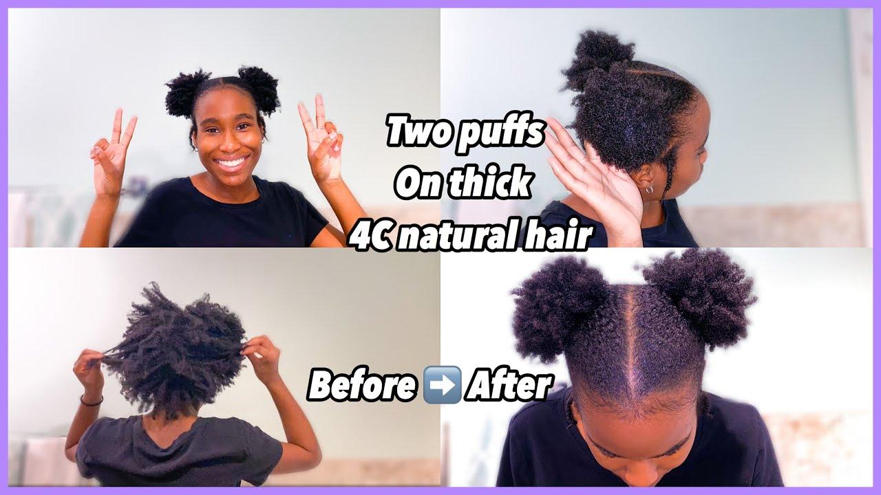 two sleek puffs on short thick 4c natural hair  natural