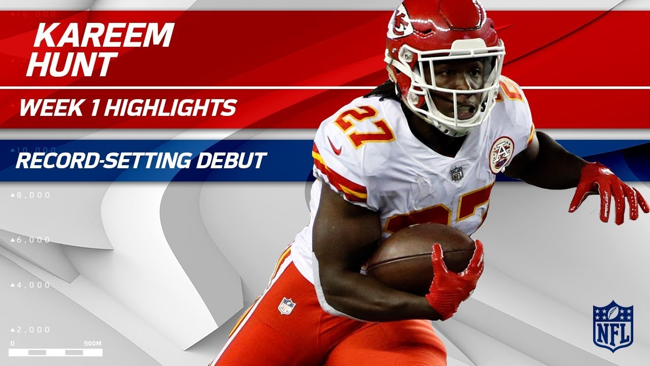 timeless design e5173 9bb88 Kareem Hunt's Record-Setting Breakout Debut! | Chiefs vs. Patriots | NFL Wk  1 Player Highlights