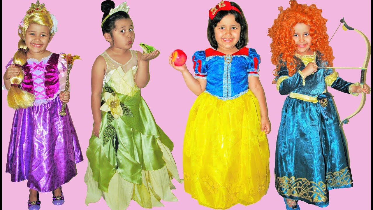 8 Halloween Costumes Disney Princess Snow White Rapunzel Tiana Belle Ariel  sc 1 st  YouTube & 8 Halloween Costumes Disney Princess Snow White Rapunzel Tiana Belle ...