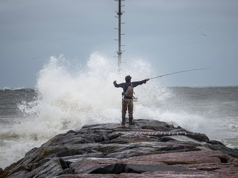 Extreme Fly Fishing Nor'easter Storm, Striped Bass Long Island, New York