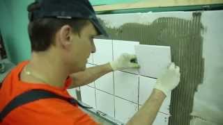 КРЕПС  Этап 2  Замешивание раствора и укладка плитки на стену