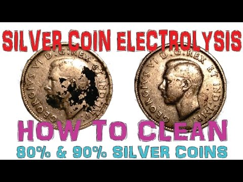 Silver Coin Electrolysis - How To Clean Silver Coins with 80-90% Silver Content.