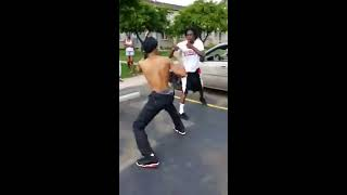 Folk Nation Gang Member Fights A Crip Gang Member Other Gang Members Jump In
