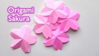 Origami Sakura Flower - Cherry Blossom / 折り紙 桜(サクラ) 切り方 作り方