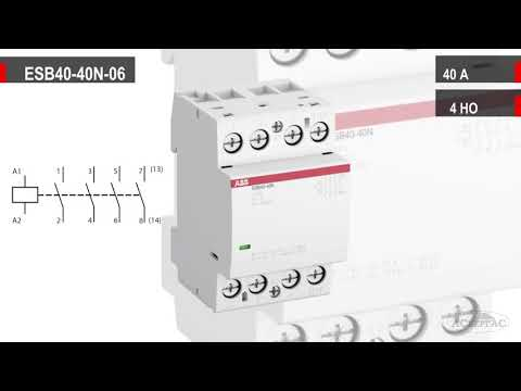 ABB ESB40-40N-06  -  Обзор модульного контактора (40А АС-1, 4НО)  -  1SAE341111R0640