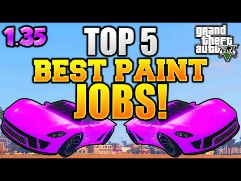 "GTA 5 Online - TOP 5 ""RARE PAINT JOBS"" ""BEST PAINT JOBS"" AFTER 1.35 (Color Car Guide GTA)"
