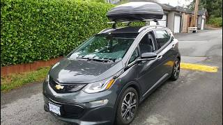 """2017 Chevrolet Bolt Premier EV- """"Does putting a huge box on your roof affect range?"""""""