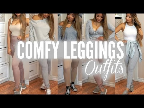 CUTE \u0026 COMFY OUTFIT IDEAS WITH LEGGINGS , YouTube