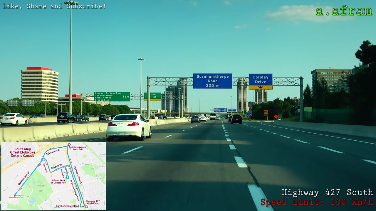 Toronto Etobicoke G (Highway, G2 Exit) Driving Road Test Route ...