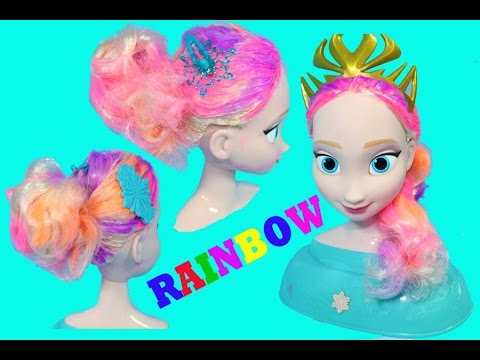 Learn Colors With Diy Frozen Elsa Rainbow Hair Styling